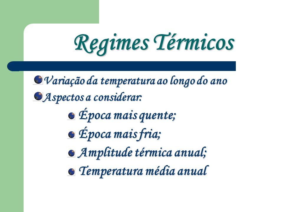 Regimes Térmicos Época mais quente; Época mais fria;