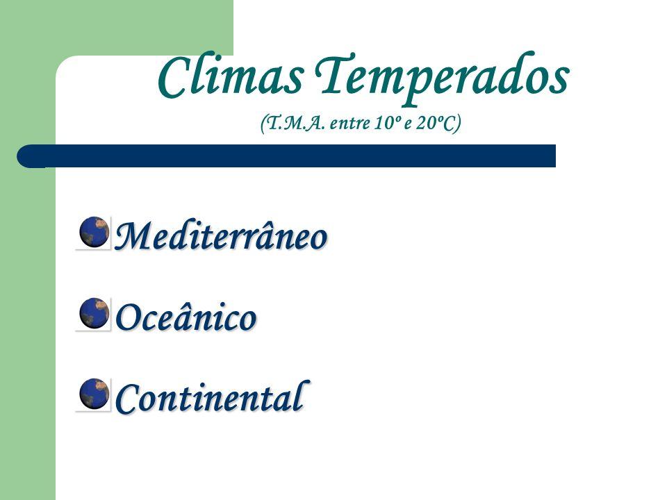 Climas Temperados (T.M.A. entre 10º e 20ºC)