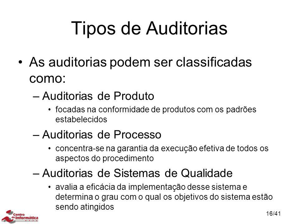 Tipos de Auditorias As auditorias podem ser classificadas como: