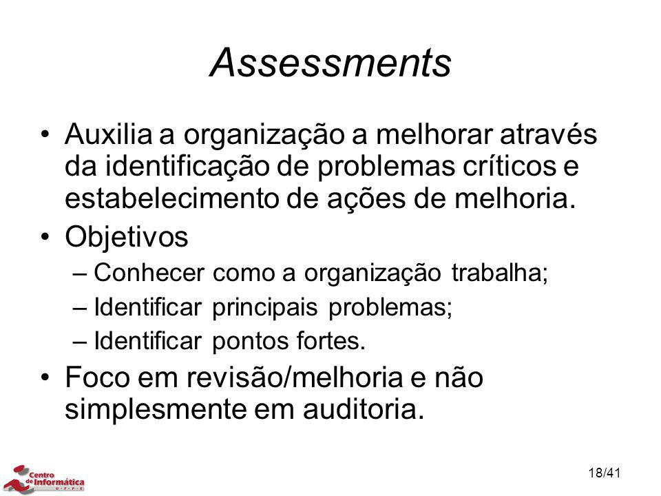 Assessments Auxilia a organização a melhorar através da identificação de problemas críticos e estabelecimento de ações de melhoria.