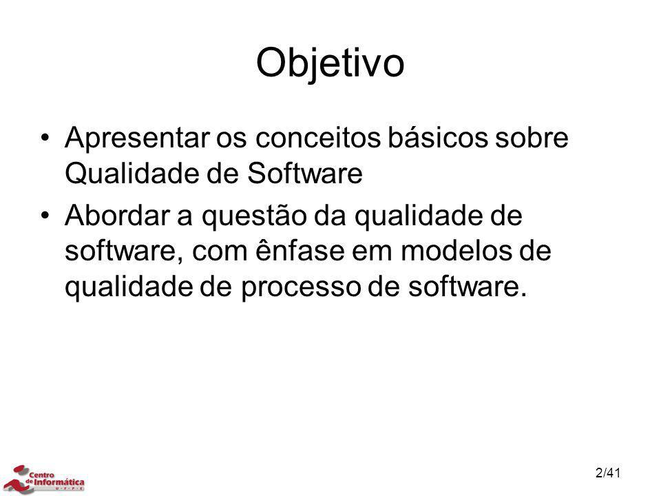 Objetivo Apresentar os conceitos básicos sobre Qualidade de Software