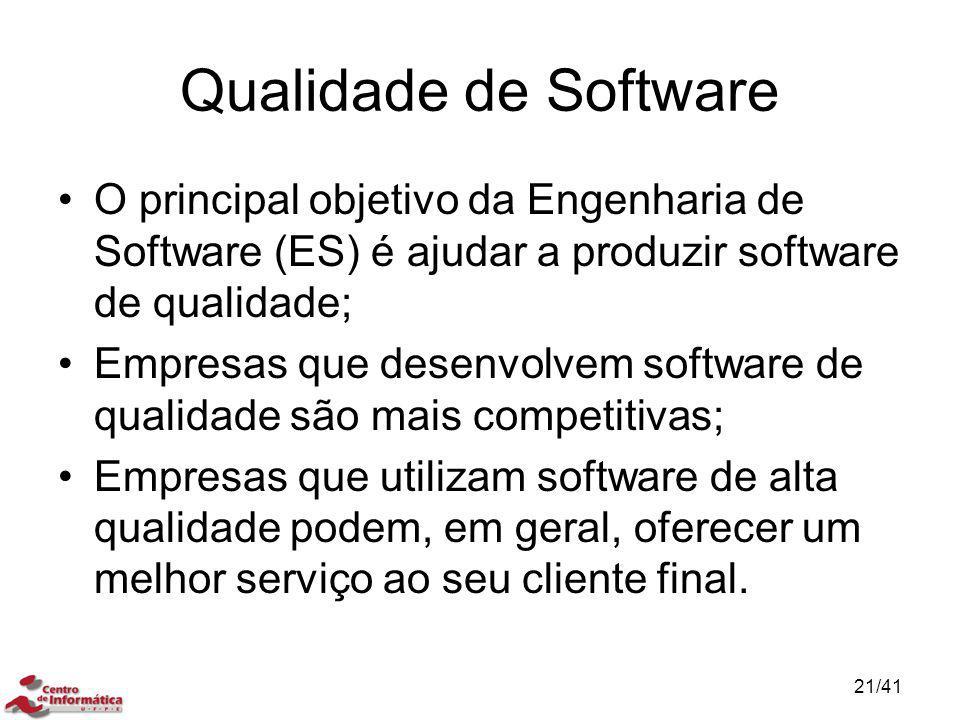 Qualidade de Software O principal objetivo da Engenharia de Software (ES) é ajudar a produzir software de qualidade;