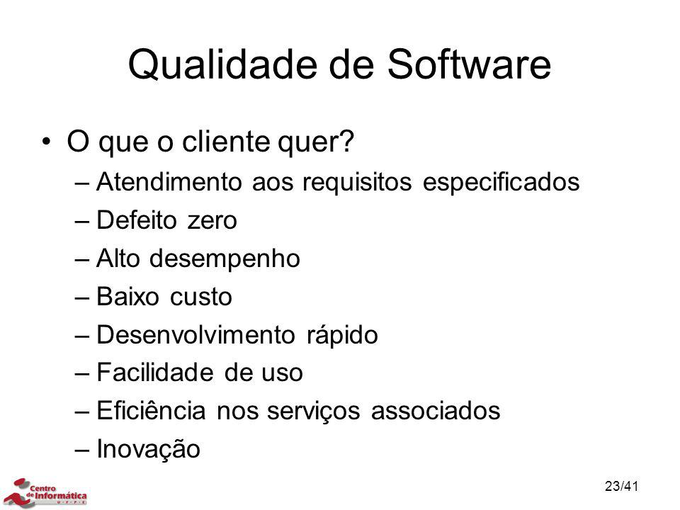Qualidade de Software O que o cliente quer