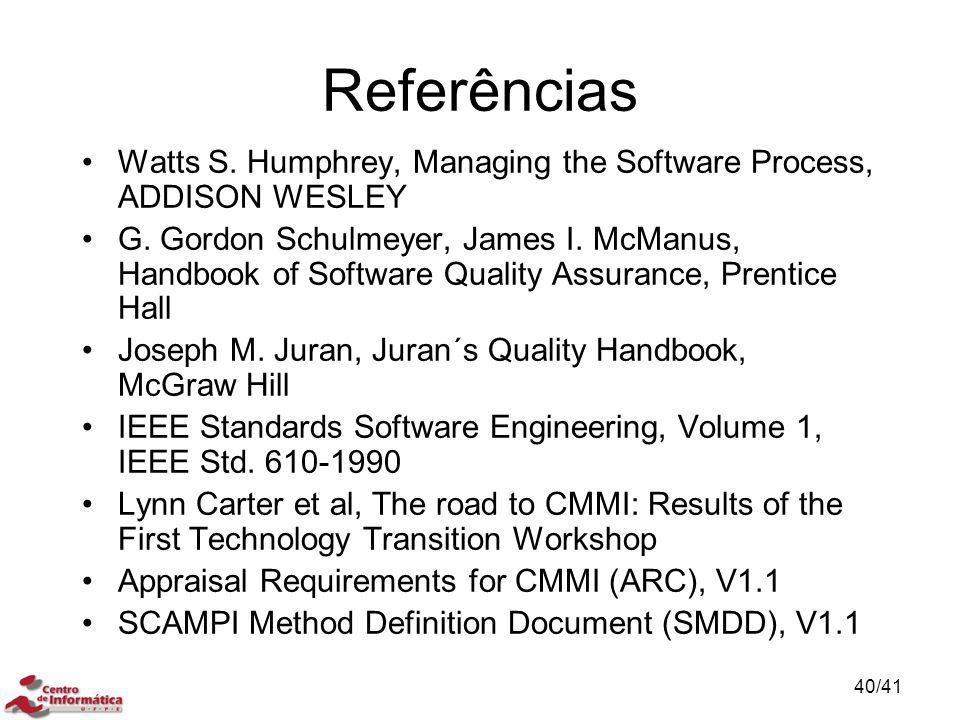 Referências Watts S. Humphrey, Managing the Software Process, ADDISON WESLEY.