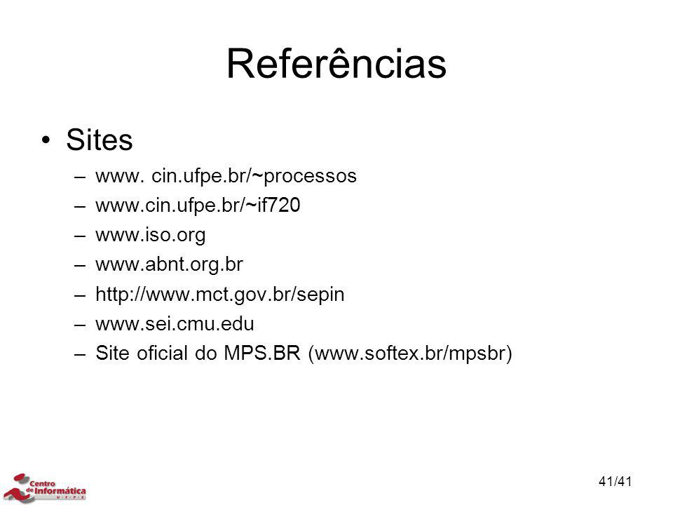 Referências Sites www. cin.ufpe.br/~processos www.cin.ufpe.br/~if720