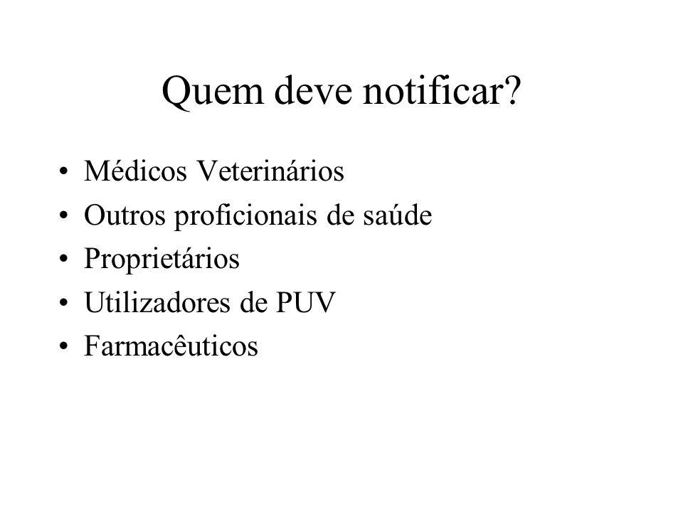 Quem deve notificar Médicos Veterinários Outros proficionais de saúde