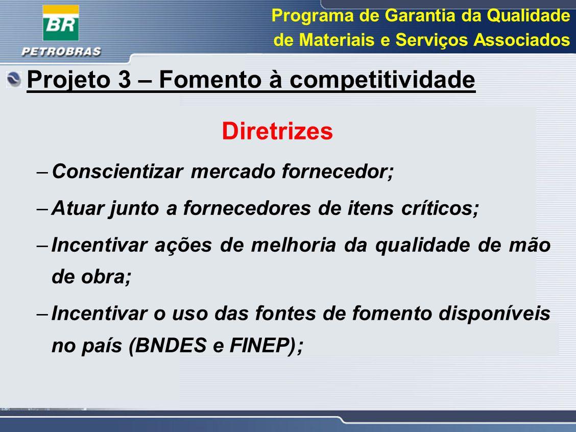 Projeto 3 – Fomento à competitividade Diretrizes