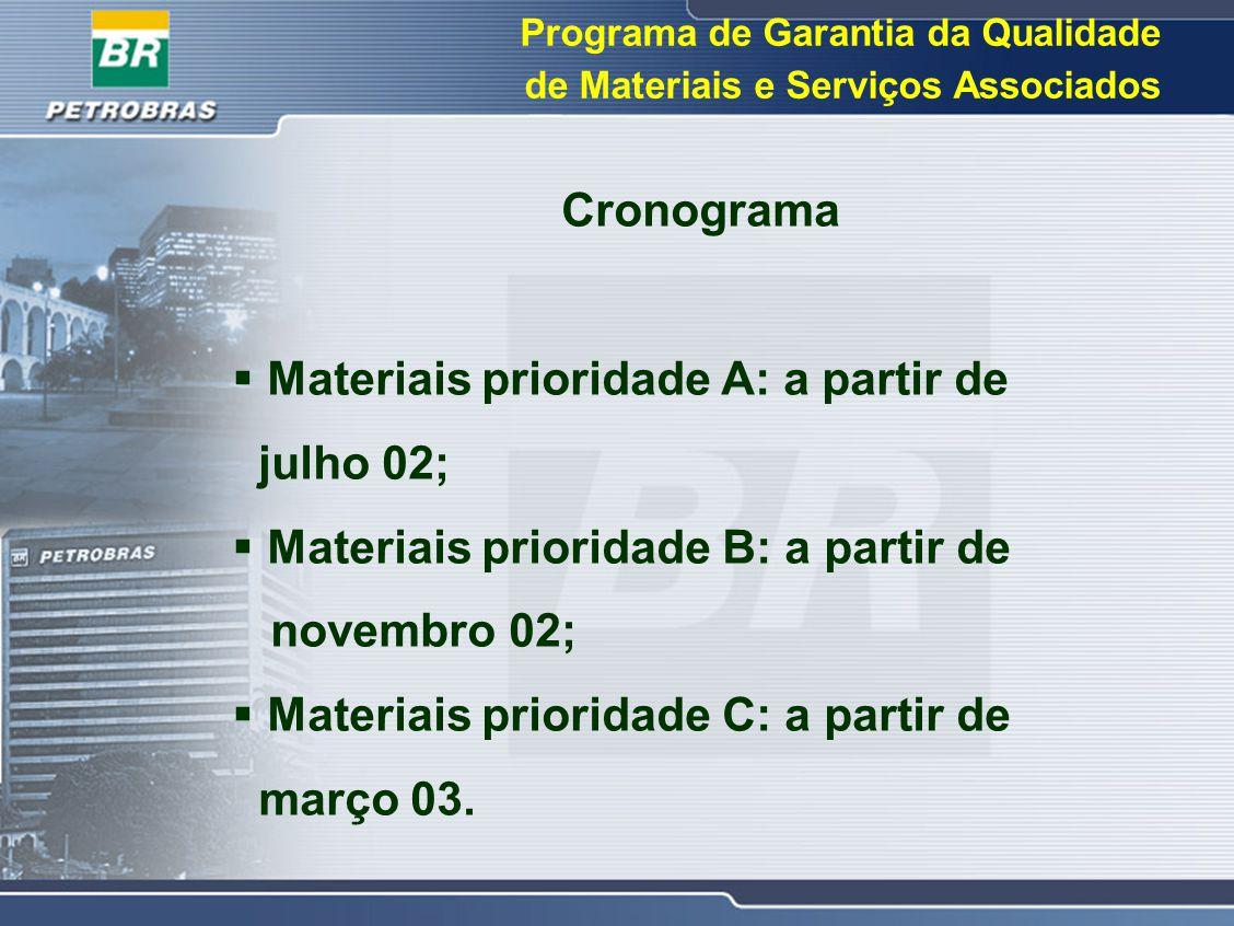 Materiais prioridade A: a partir de julho 02;