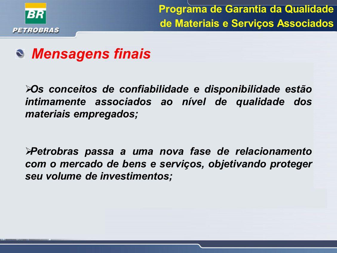 Mensagens finais Programa de Garantia da Qualidade