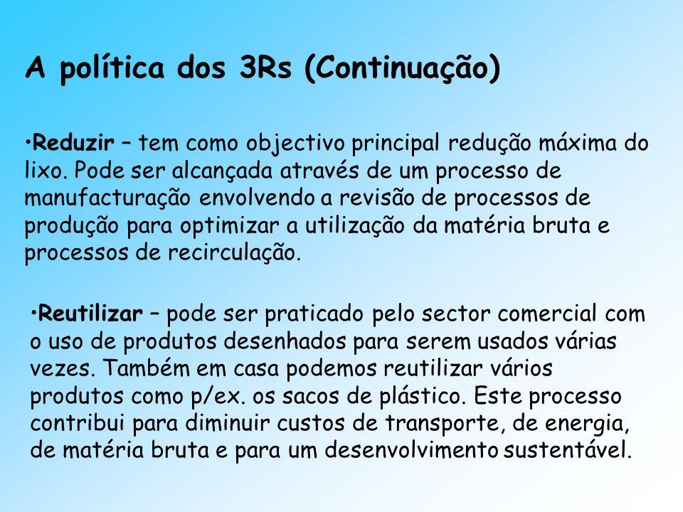 A política dos 3Rs (Continuação)