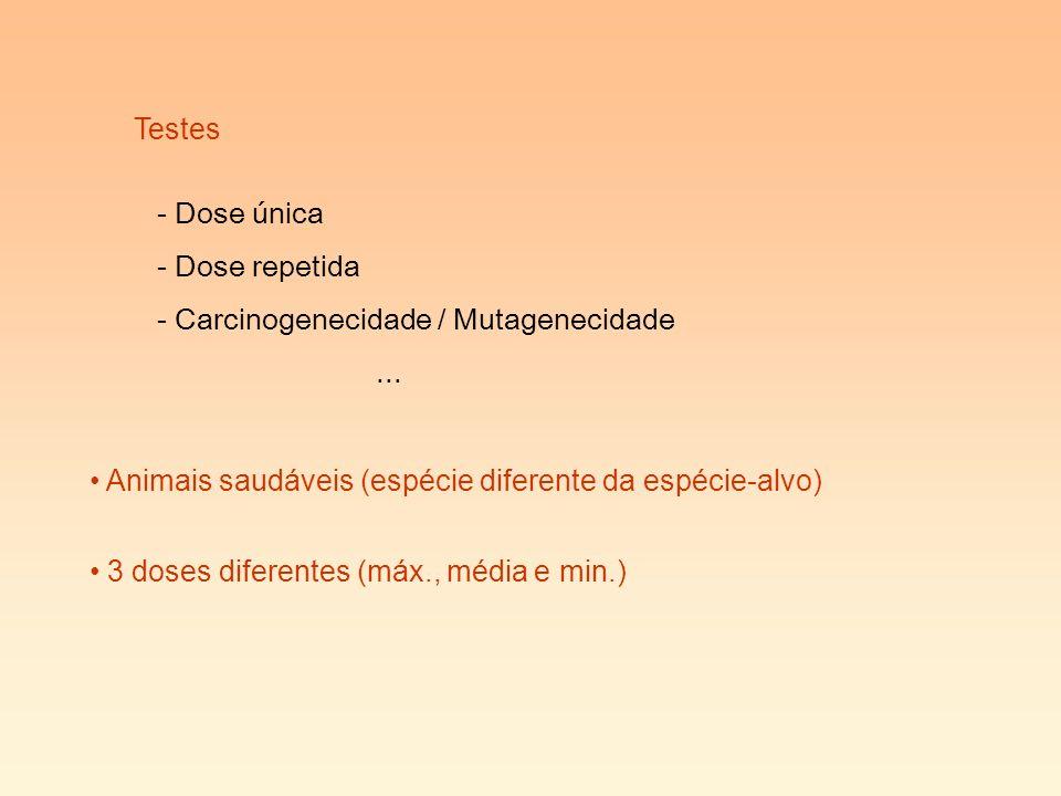 Testes Dose única. Dose repetida. Carcinogenecidade / Mutagenecidade. ... Animais saudáveis (espécie diferente da espécie-alvo)