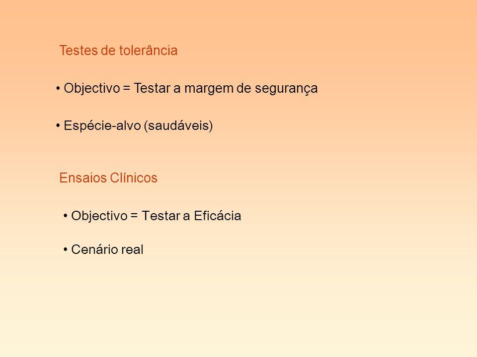 Testes de tolerância Objectivo = Testar a margem de segurança. Espécie-alvo (saudáveis) Ensaios Clínicos.