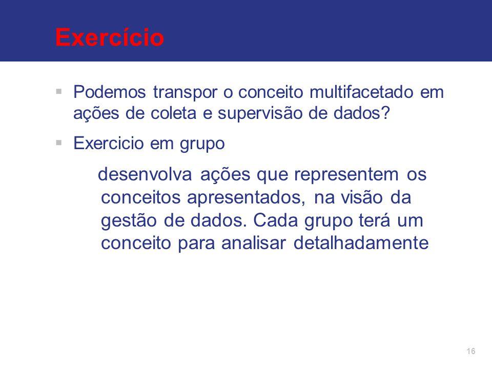 Exercício Podemos transpor o conceito multifacetado em ações de coleta e supervisão de dados Exercicio em grupo.