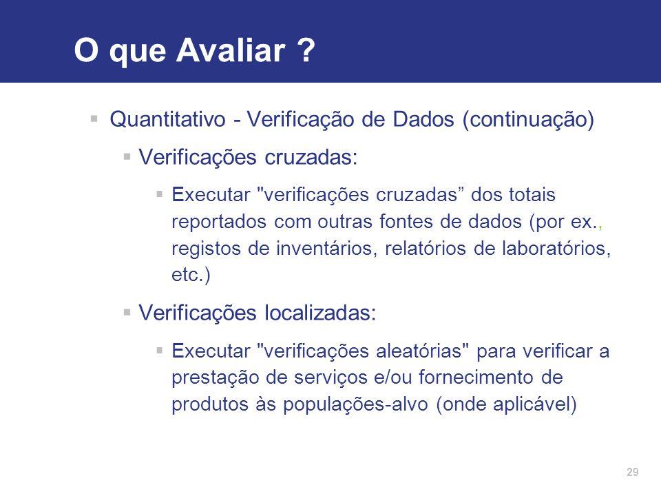 O que Avaliar Quantitativo - Verificação de Dados (continuação)