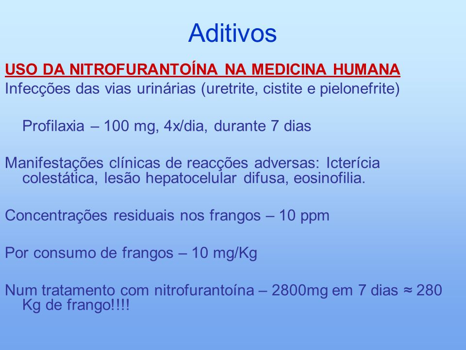 Aditivos USO DA NITROFURANTOÍNA NA MEDICINA HUMANA