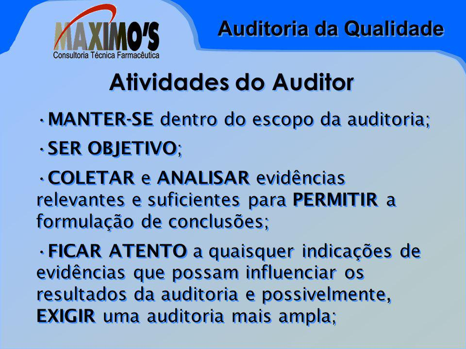 Atividades do Auditor MANTER-SE dentro do escopo da auditoria;