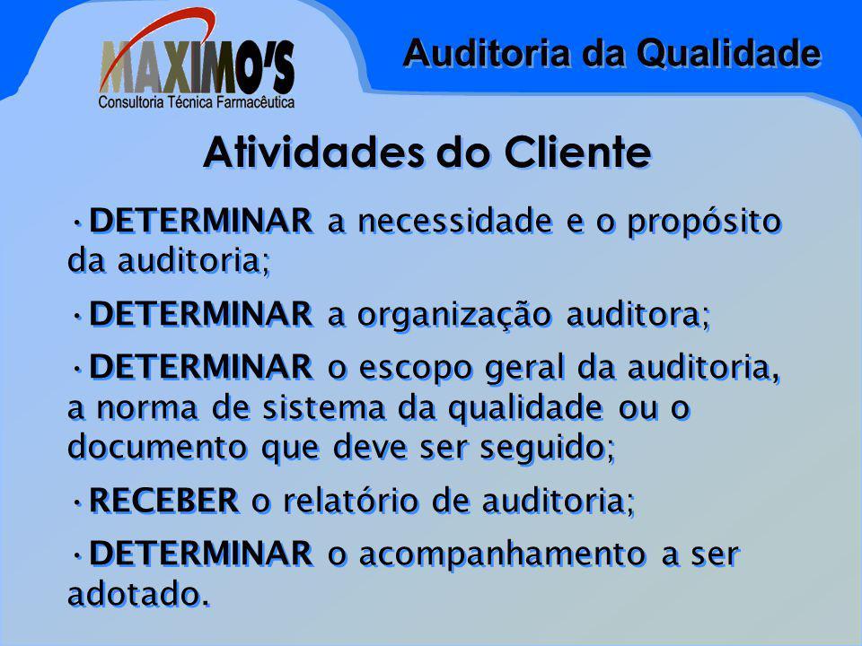 Atividades do Cliente DETERMINAR a necessidade e o propósito da auditoria; DETERMINAR a organização auditora;