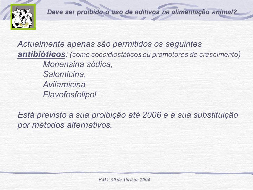 Actualmente apenas são permitidos os seguintes antibióticos: (como coccidiostáticos ou promotores de crescimento) Monensina sódica, Salomicina, Avilamicina Flavofosfolipol Está previsto a sua proibição até 2006 e a sua substituição por métodos alternativos.