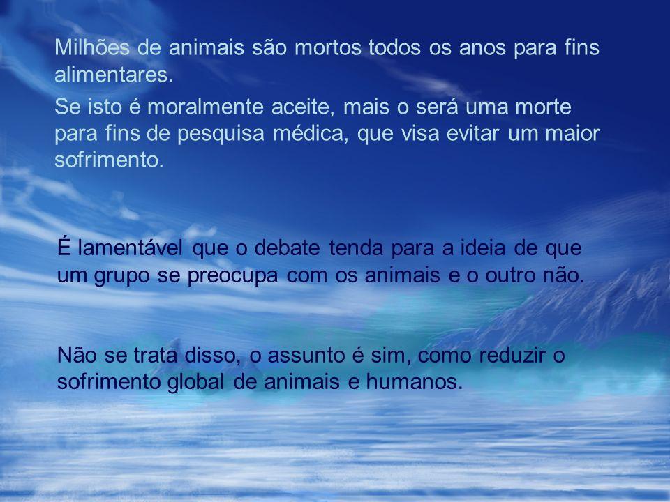 Milhões de animais são mortos todos os anos para fins alimentares.