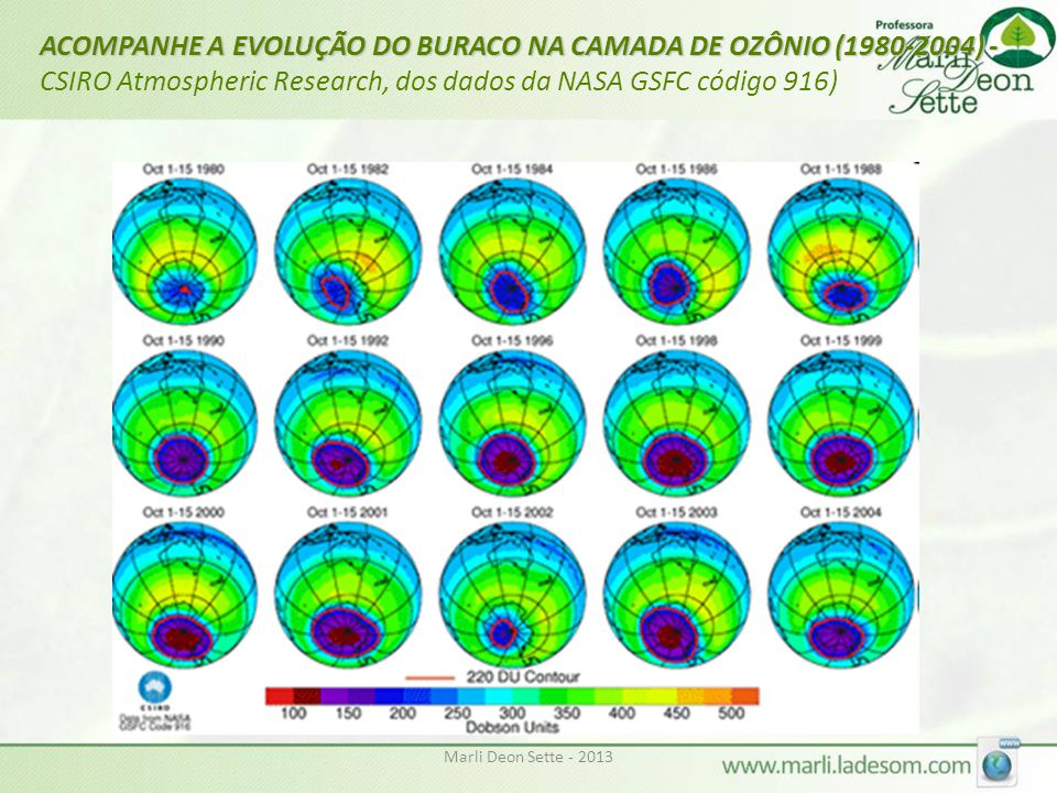 ACOMPANHE A EVOLUÇÃO DO BURACO NA CAMADA DE OZÔNIO (1980-2004) -CSIRO Atmospheric Research, dos dados da NASA GSFC código 916)