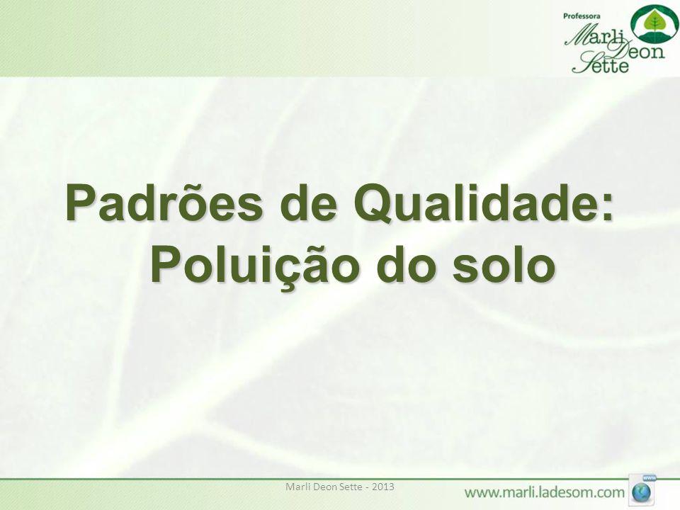 Padrões de Qualidade: Poluição do solo