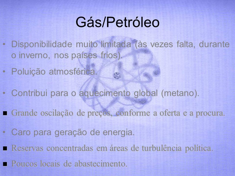 Gás/Petróleo Disponibilidade muito limitada (às vezes falta, durante o inverno, nos países frios). Poluição atmosférica.