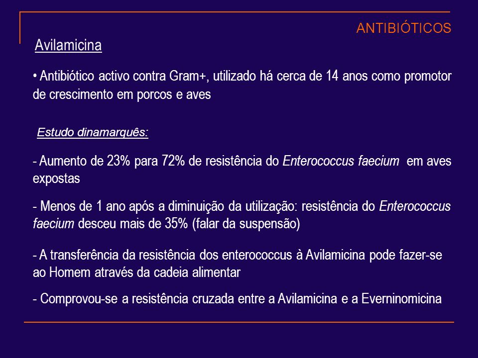 ANTIBIÓTICOS Avilamicina. Antibiótico activo contra Gram+, utilizado há cerca de 14 anos como promotor de crescimento em porcos e aves.