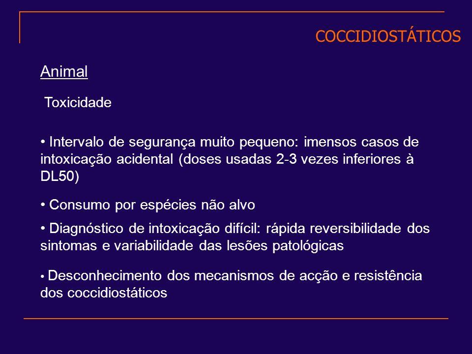 COCCIDIOSTÁTICOS Animal Toxicidade