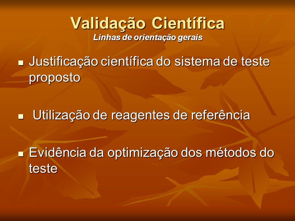 Validação Científica Linhas de orientação gerais