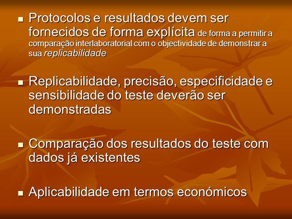 Protocolos e resultados devem ser fornecidos de forma explícita de forma a permitir a comparação interlaboratorial com o objectividade de demonstrar a sua replicabilidade