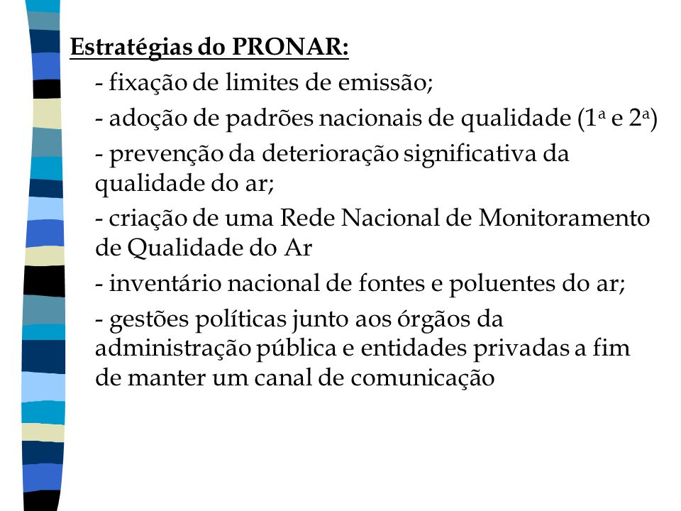 Estratégias do PRONAR: