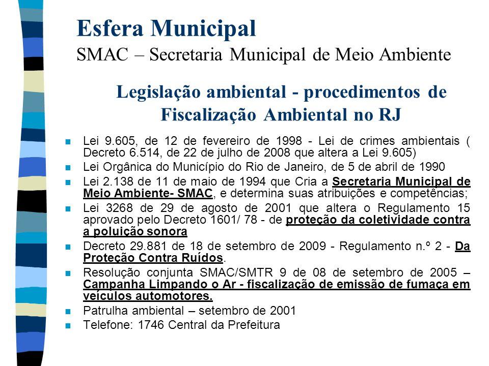 Legislação ambiental - procedimentos de Fiscalização Ambiental no RJ