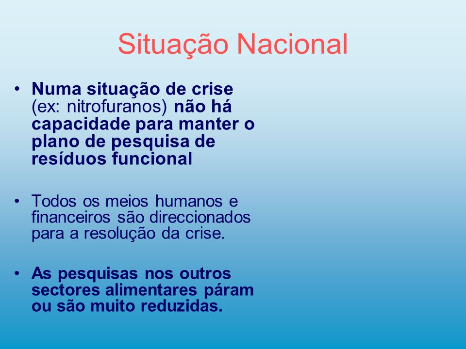 Situação Nacional Numa situação de crise (ex: nitrofuranos) não há capacidade para manter o plano de pesquisa de resíduos funcional.