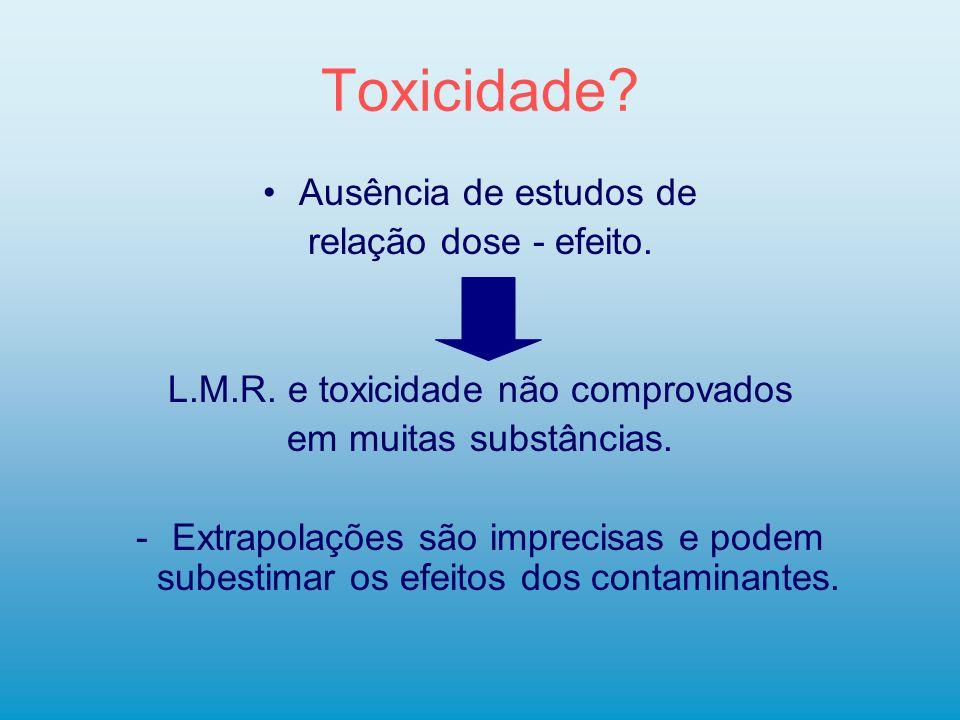 L.M.R. e toxicidade não comprovados
