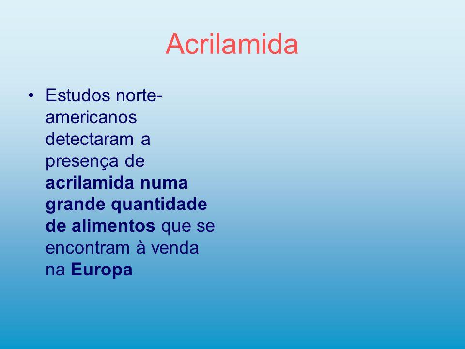 Acrilamida Estudos norte-americanos detectaram a presença de acrilamida numa grande quantidade de alimentos que se encontram à venda na Europa.