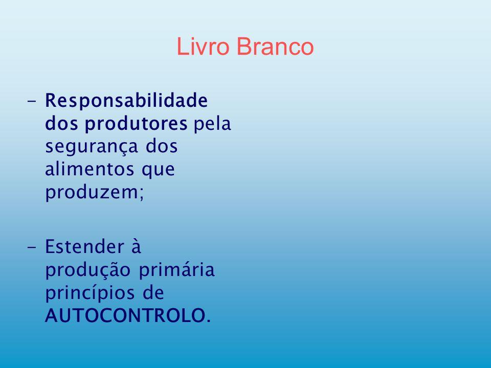 Livro Branco Responsabilidade dos produtores pela segurança dos alimentos que produzem; Estender à produção primária princípios de AUTOCONTROLO.