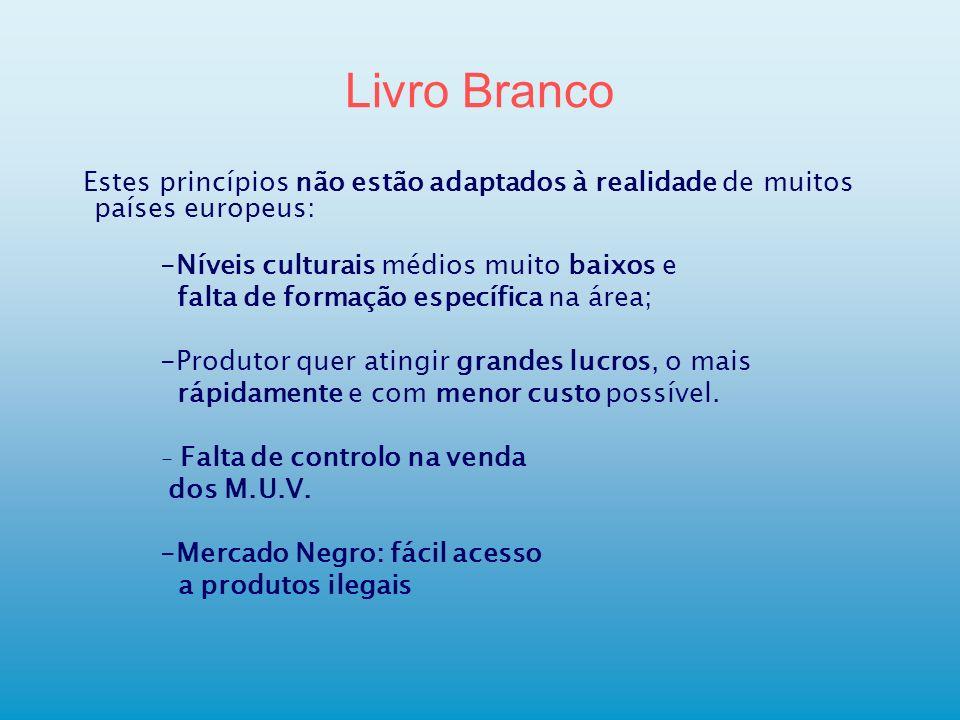 Livro Branco Estes princípios não estão adaptados à realidade de muitos países europeus: -Níveis culturais médios muito baixos e.