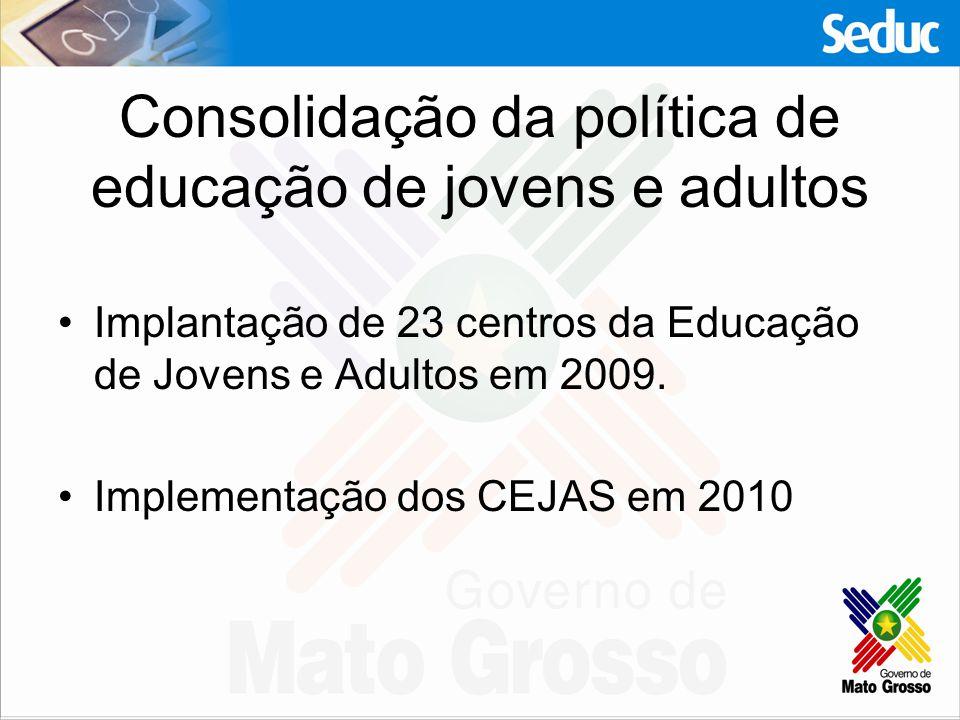Consolidação da política de educação de jovens e adultos
