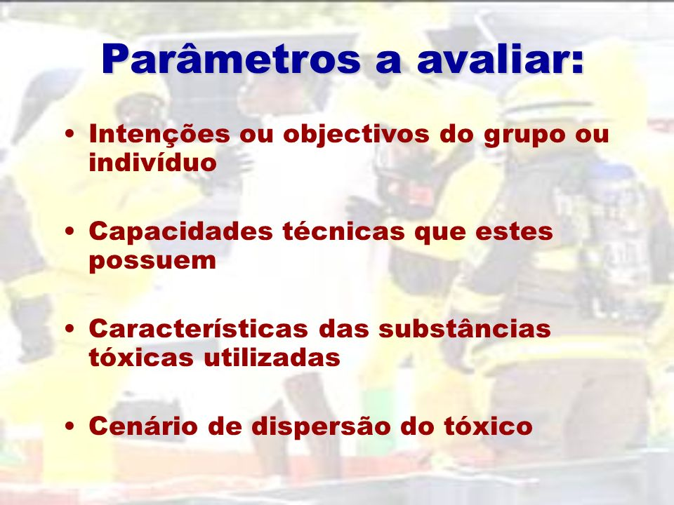 Parâmetros a avaliar: Intenções ou objectivos do grupo ou indivíduo