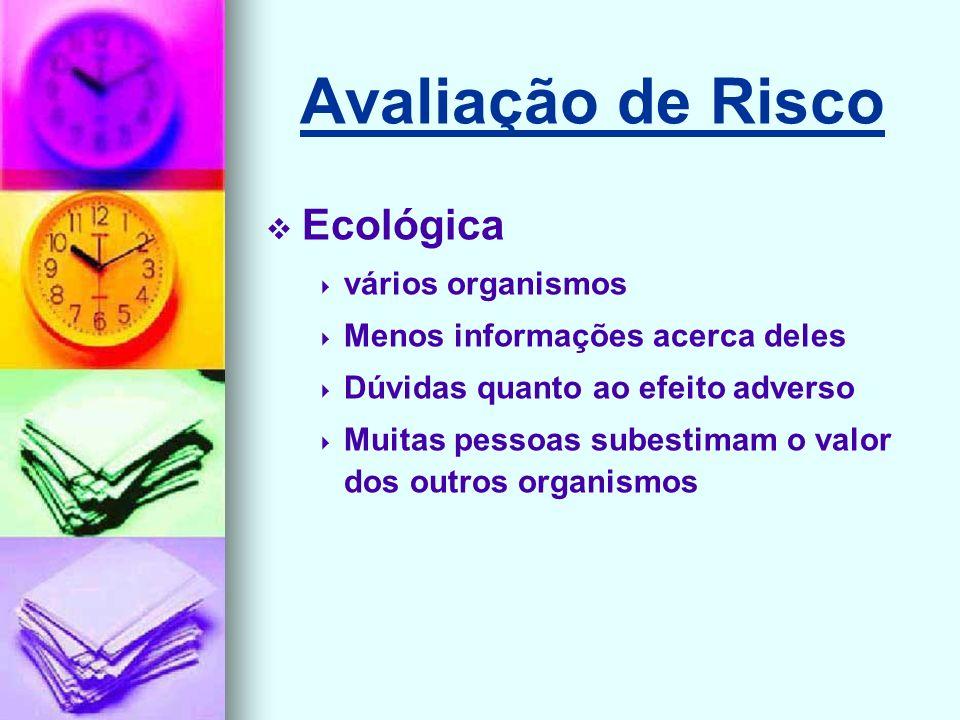 Avaliação de Risco Ecológica vários organismos