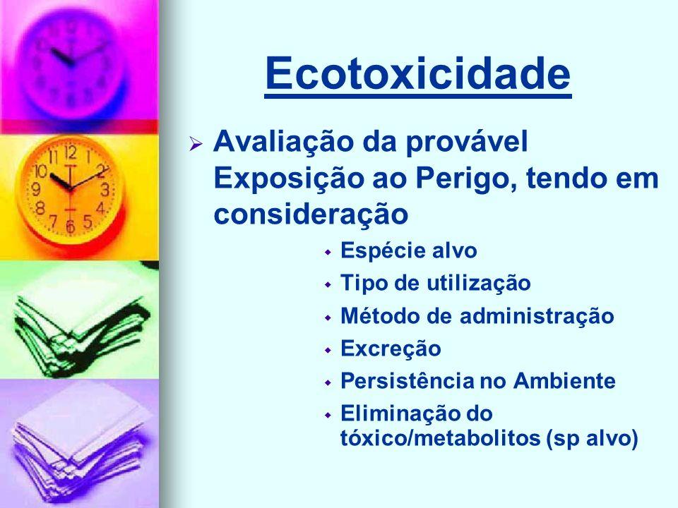 Ecotoxicidade Avaliação da provável Exposição ao Perigo, tendo em consideração. Espécie alvo. Tipo de utilização.