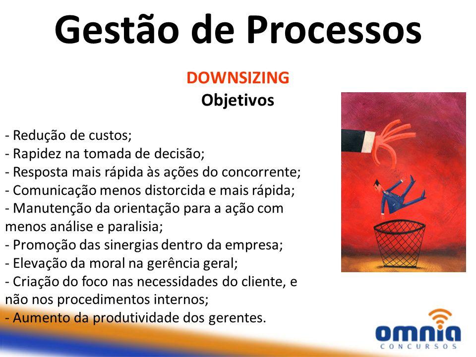 Gestão de Processos DOWNSIZING Objetivos - Redução de custos;