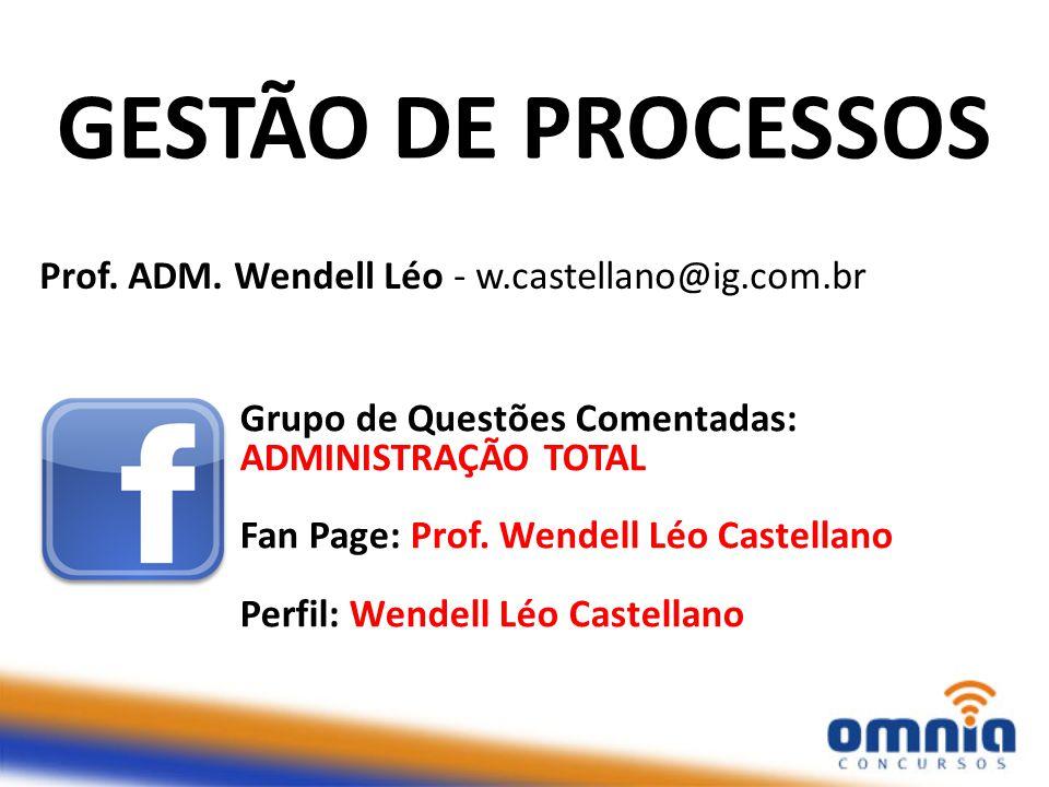 GESTÃO DE PROCESSOS Prof. ADM. Wendell Léo - w.castellano@ig.com.br