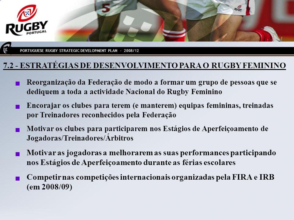 7.2 - ESTRATÉGIAS DE DESENVOLVIMENTO PARA O RUGBY FEMININO