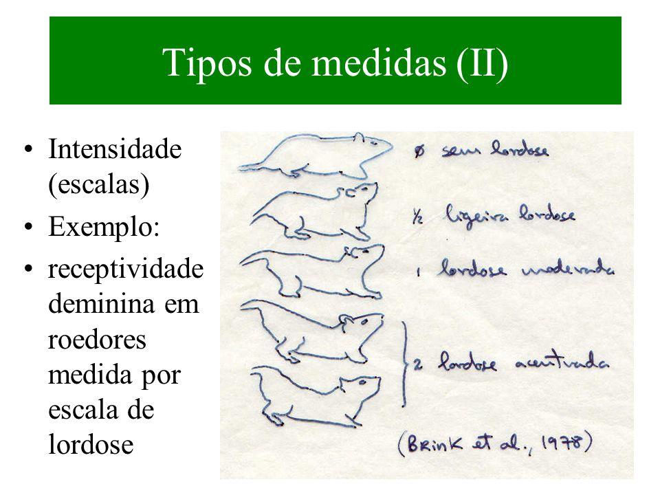Tipos de medidas (II) Intensidade (escalas) Exemplo: