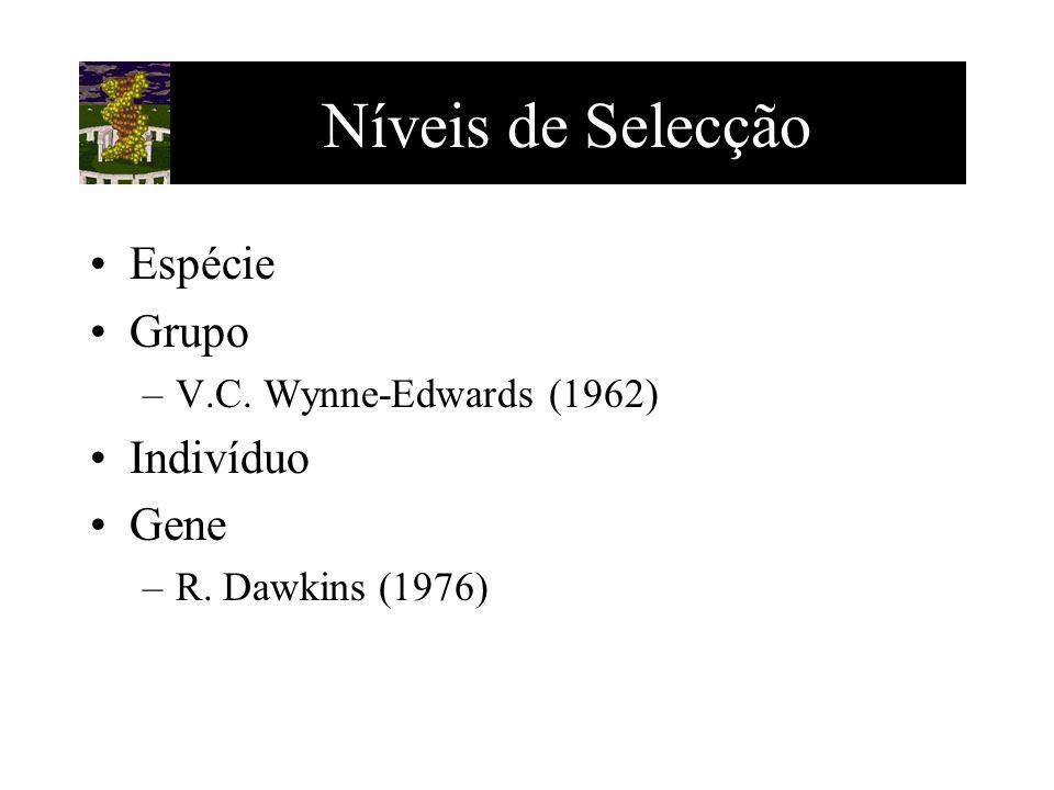 Níveis de Selecção Espécie Grupo Indivíduo Gene