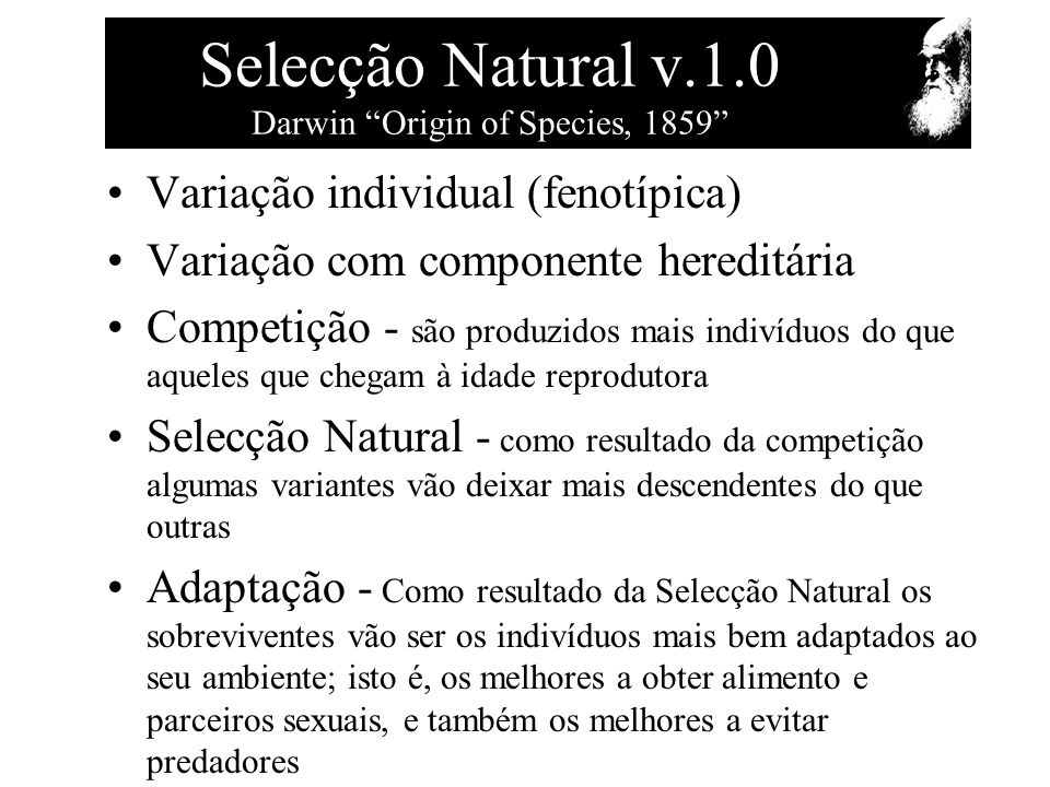 Selecção Natural v.1.0 Darwin Origin of Species, 1859