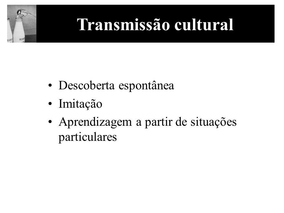 Transmissão cultural Descoberta espontânea Imitação