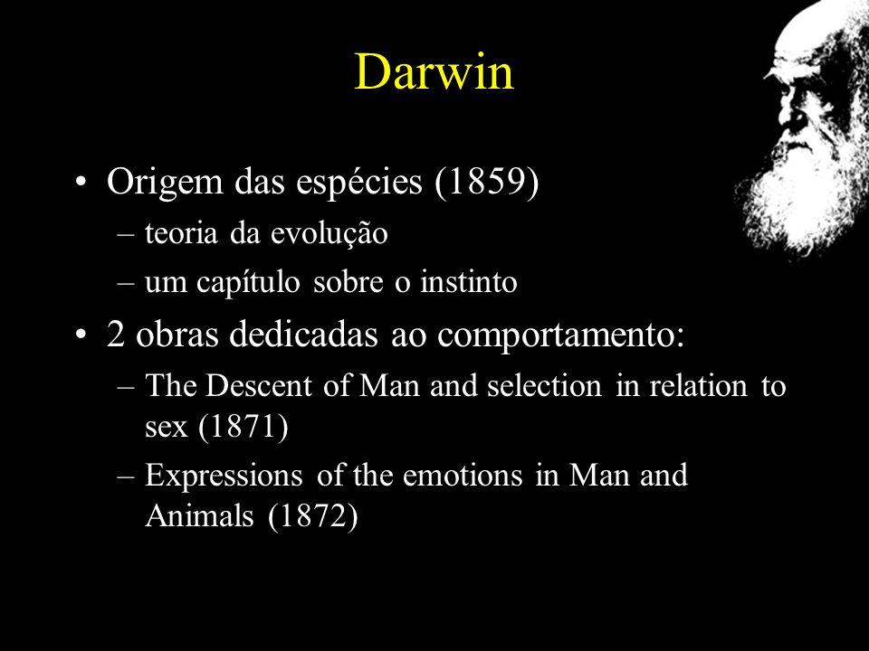 Darwin Origem das espécies (1859) 2 obras dedicadas ao comportamento: