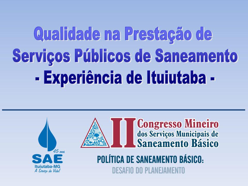 Qualidade na Prestação de Serviços Públicos de Saneamento